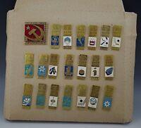 RUSSIAN 1954-1984 WORLD CUP HOCKEY CHAMPIONSHIP 21 PINS SET LOT METAL VINTAGE