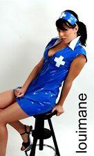 BLUE PVC NURSE UNIFORM *LOUIMANE* Sexy.NURSES COSTUME DRESS OUTFIT in sizes 8-22