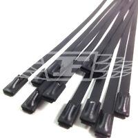 4.6mm x 300mm, BLACK COATED STAINLESS STEEL METAL CABLE TIES TIE ZIP HEAT STRAPS