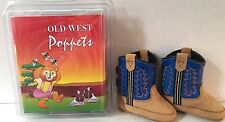 Old West Blue Infants Boys Leather Comfort Poppets Cowboy Boots Sz 0 NEW