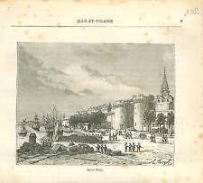 Saint-Malo Bretagne FRANCE GRAVURE ANTIQUE OLD PRINT 1882