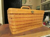 Vintage Asian Wicker Bamboo Rattan Woven Picnic Basket Sewing