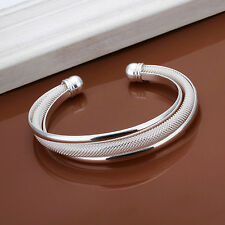 Women's 925 Silver Plated Solid Cuff Bangle Bracelet Fashion Jewelry Simple FR