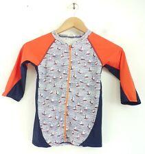 VAENAIT Little Girls Top Orange Blue Sailboat Print Zip Up Beach Shirt XL 6