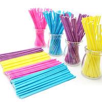 100 Pcs/Set Colorful Lollipop Sticks Cake Pop Sticks   Candy Chocolate 10cm HU