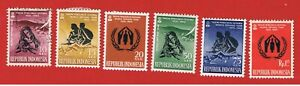 Indonesia #488-493 MVFH OG  World Refugee Year  Free S/H