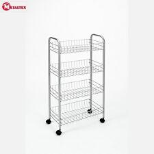 Metaltex Valencia 3 Shelf Trolley White Storage Organiser Rack Kitchen New