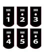 FITS SIG P226 9MM NUMBERED BASE PLATE STICKERS WHITE 1-6