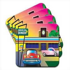1960s Drive In American Diner Scene Set of 4 Coasters