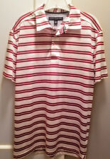 Tommy Hilfiger Mens White With Red Stripes Golf Polo Short Sleeve Shirt LARGE