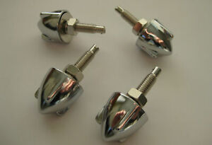 3 WING CHROME BULLET NUMBER PLATE BOLTS X4 HOLDEN CHEV FORD HOTROD RATROD