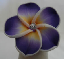 Beautiful Hawaii Purple Fimo Plumeria Flower Hawaiian Adjustable Band Ring