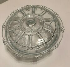 Vintage Kig Indonesia glass Candy Dish Clear Bead And Panel