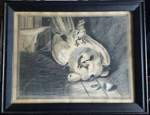 1894 Charcoal Drawing of Hen with Her Chicks by Byran Reed/Ready to Hang