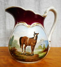 Antique Painted Ironstone Hotel Water Pitcher Thoroughbred Horse & Gilt, Floral