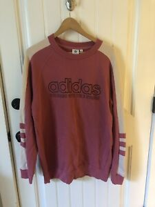 Adidas Crewneck Sweatshirt Womens Size Large Pink And Yellow Long Sleeve