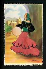 Embroidered clothing postcard Artist Iraola , Spain, Granada woman music #25