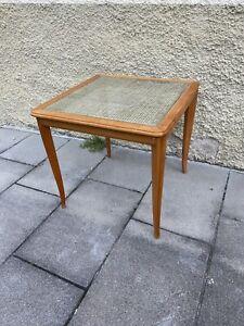 Beistelltisch Tisch Kirschbaum Holz Mit Glaseinsatz