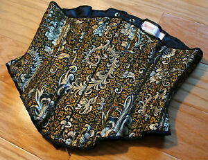 """Puimond black gold feather brocade silk coutil underbust corset 28"""" made in USA"""