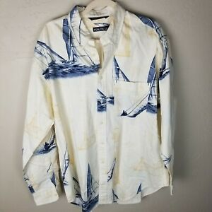 Vintage Nautica Men's Large Heavy Cotton Sailboat Long Sleeve Button Up Shirt