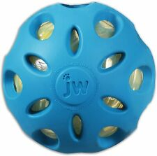 JW Pet Company Large Crackle Ball Blue Rubber Dog Toy 4 Inch Crackling middle