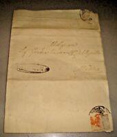 """REGNO DUE SICILIE - piego timbro ovale """"GIUDICATO DI CHIARAMONTE"""" 4/2/1844"""