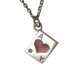 "Ace of Hearts Poker Card Crystal Charm Silver Plated 18"" Necklace Texas Hold 'em"