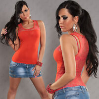 New Sexy Singlet Tank Top with Lace Back  Size S/M Size 6 8 10 - Orange