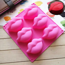 Chocolate Silicone 6 cell LIPS Baking Mould Kiss Soap Resin Wax Melt Craft Ice