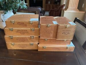 LOT OF 8 WOODEN OLIVIA CIGAR BOXES - JEWELRY - GUITAR - CRAFT - STORAGE