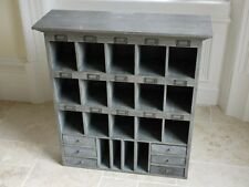 ANTIQUE STYLE VINTAGE WOODEN LARGE GREY WALL STORAGE CABINET ORGANISER (DX3028)