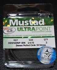 2 Mustad 39950NPBN-140 Ultra Point Size 14/0 Demon Circle Hooks 3X Black Nickel