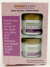 Raw Sugar Body Butter + Sugar Scrub Set Pineapple Maqui Berry Coconut 2 Oz. each