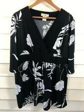 Travelsmith Women's Black White 3/4 Sleeve Rayon Blouse Shirt Tunic Size XLP