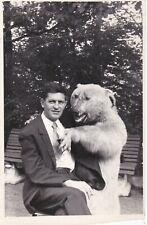 1973 Funny man w/ taxidermy stuffed bear unusual abstract Soviet Russian photo