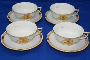"""Herend Chinese Bouquet Yellow (4) Cups, 2"""" & (4) Saucers, 5 3/4"""""""