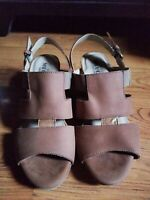 Sesto Meucci Sandals Womens Size 7.5 Brown Leather Open Toe Wedge Heel Comfort