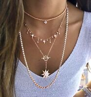 Solitaire Ball Chain Necklace Cubic Zirconia 925 Solid Silver 14K Rose Gold