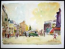 Metro Station - Place de Clichy,  Paris, France, Original Watercolor