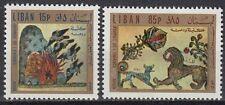Libanon Lebanon 1971 ** Mi.1110/11 Gemälde Paintings Tiere Animals