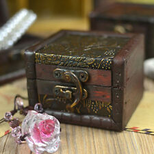 Hot Wood Vintage Handmade Small Storage Box Case Metal Lock Jewelry Boxes Case
