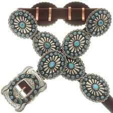 Silver Natural Turquoise Concho Belt Vintage Old Pawn Native Style Stamped
