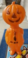 Vintage Hong Kong small plastic pumpkin man in suit and tie Halloween blow mold