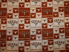 "UNIVERSITY of  TEXAS ""LONGHORNS"" BRAND NEW SQUARE DESIGN 100% COTTON 1/2 YARD"