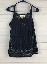 NWT Ralph Lauren Denim & Supply Navy Blue Beaded Macrame Tank Top Small S NEW