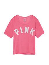 Victoria's Secret PINK Shrunken Campus Tee Shirt Oversized Fit Small Pink New
