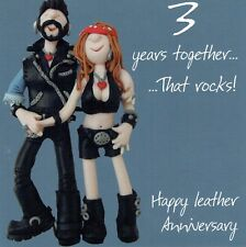 3rd Wedding Anniversary Card From the One Lump or Two Collection Leather anniver