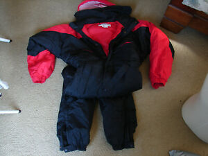 EUC Men's Columbia Red Black One Piece Hooded Ski/Snow Suit Size Small