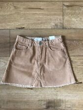 Zara Girls Tan Velvet Pocket Button Skirt Size 6T With Tags