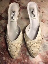 Vintage New Natori White Satin & Pearl Slipper Mules Size 7-7 1/2 Original Box